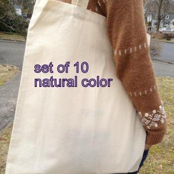 Set of 10 cotton canvas natural color tote, FREE custom gussets, wedding tote, bridal tote, DIY tote bag, blank tote, plain tote bag